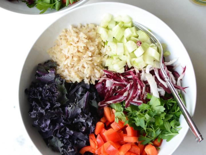 red kale, radicchio, pepper & fennel salad